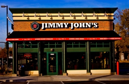 Construction project completed by HC Company - Jimmy John's evening shot