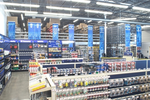 Construction project completed by HC Company - interior of a Napa Auto Parts store