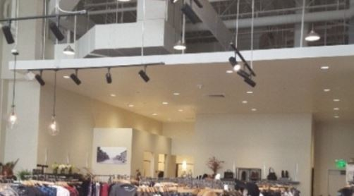 Construction project completed by HC Company - ceiling view of retail space
